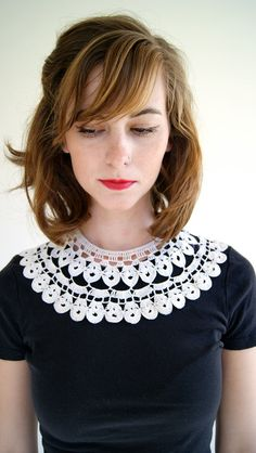 Vintage Collar. 40s / 50s Crochet White Collar. Lace Collar. Crochet Statement Necklace. via Etsy
