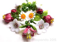 Jopanda Lampwork Glass Beads Handmade SRA Fuchsia Daisies Lily of Thevalley | eBay