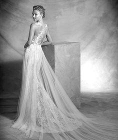 Vintage, Kleid mit herzförmigem Dekolleté aus Spitze und Tüll, mit Garnstickerei…