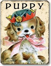 Item 10102 Vintage Style Puppy Nursery Plaque
