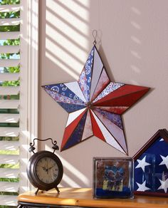 Americana Star - Patriotic Craft Farme / Anne Parvis Ben Franklin Crafts and Frame Shop Crafts Monroe Americana Crafts, Patriotic Crafts, Blue Crafts, Diy Crafts, American Flag Crafts, American Decor, American Pride, Patriotic Images, 4th Of July Decorations