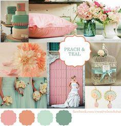 Wedding Colour Scheme – Bride Club ME's Pick of the Week {Creative Box} Peach & Teal Wedding Themes, Wedding Styles, Our Wedding, Dream Wedding, Wedding Ideas, Wedding Decor, Spring Wedding, Wedding Bells, Wedding Bride