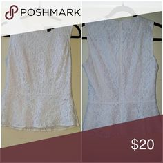Ivory lace peplum tank top blouse Beautiful blouse, zips in the back Tops Blouses
