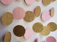 Gold and Light Pink Party Decoration, Bridal Shower Decor, Baby Shower Decoration, Birthday Party Decoration
