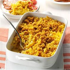 Noodle Pudding Recipe -Whenever I bring this creamy dish to gatherings, it always prompts recipe requests. The surprising sweetness comes from apricot nectar, and everyone enjoys the golden buttery topping. —Eileen Meyers, Scott Township, Pennsylvania