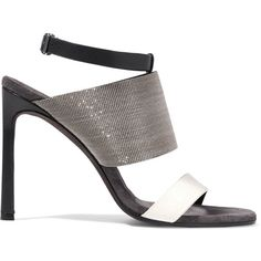 Brunello Cucinelli Embellished leather sandals ($505) ❤ liked on Polyvore featuring shoes, sandals, black, black beaded sandals, black slingback sandals, black leather shoes, black embellished sandals and black leather sandals