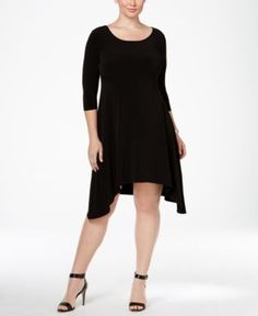 Alfani Plus Size Fit & Flare Knit Dress, Only at Macy's - Black 18W