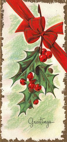 Lovely holiday greetings. #vintage #Christmas #cards