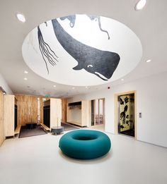 Now I need a dome with a whale in my house. (House of Children in Saunalahti / JKMM Architects. Kindergarten Interior, Kindergarten Design, Clinic Design, Healthcare Design, Interior Exterior, Interior Architecture, Cubbies, Ecole Design, Hospital Design