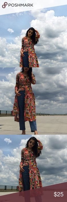 Vintage multicolor maxi dress Such a beautiful piece. Love wearing it like a kimono/dress with jeans which is very trendy. vintage  Dresses Maxi