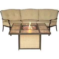 Traditions Crescent Sofa and Tile-Top Fire Pit Set