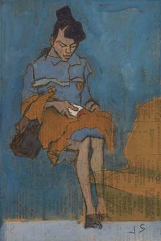 JOSEPH SOLMAN Woman Reading. 1945-63