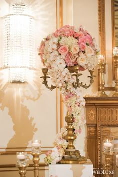 WedLuxe– Royal Wedding Vibes Achieved With Regal Pink and Gold Design | Photography By: Jasalyn Thorne Photography Follow @WedLuxe for more wedding inspiration!