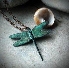 Romantic Dragonfly Necklace  Verdigris by LaughingDogStudio
