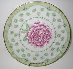 Andrea by Sadek Decorative Porcelain Plate, Cake Plate, Shabby Chic Decor, Floral Plate, Pink & Green by SoulsationsVintage on Etsy Vintage Wall Art, Vintage Walls, Shabby Chic Furniture, Shabby Chic Decor, Green Accents, Cake Plates, Leaf Design, White Porcelain, Country Decor