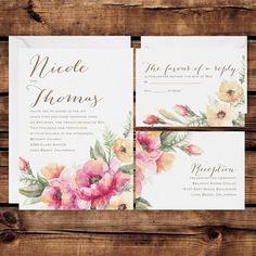 Floral Wedding Invitation Set Personalized Wedding