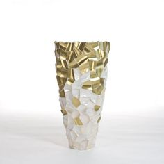 Buoy vase made of brass and shell in crazy cut pattern by DK Home