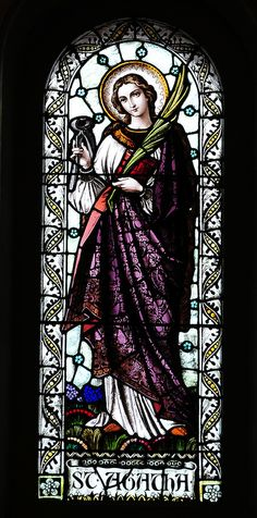 Stained glass image of St. Agatha from St. Francis Xavier Cathedral in Green Bay. (Photo by Sam Lucero)