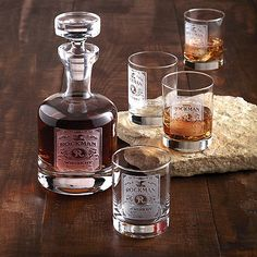 Personalized Etched Whiskey Label Decanter and Glasses Set at Wine Enthusiast - $179.95
