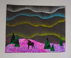 that artist woman: Northern Lights chalk pastel art for kids Winter Art Projects, School Art Projects, Children Art Projects, 4th Grade Art, Grade 2, Ecole Art, Kindergarten Art, Preschool, Art Lessons Elementary