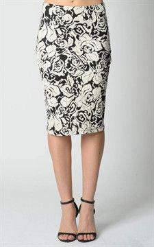 zPonti De Roma Pencil Skirt Knee Length-Sk3065-Roses