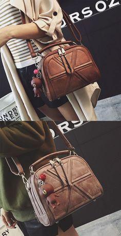 Fashion Double Zippers Handbag Retro Lines Separated Geometric Pattern PU Shoulder Bag for big sale! #handbag #bag #shoulder #retro #women