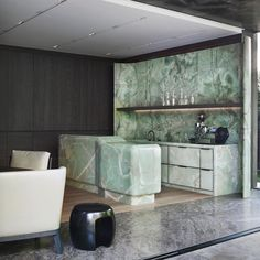 Agatha O I Green Onyx kitchen in an Interior architecture project in Munich by Studio Liaigre. Modern Kitchen Design, Interior Design Kitchen, Modern Interior Design, Interior Architecture, Interior Decorating, Home Design, Design Ideas, Design Art, Marble Furniture