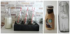 Make your own milk bottles using Starbucks Frap bottles.  Drink, wash, and to remove the ink expiration date just rub it off with nail polish remover.