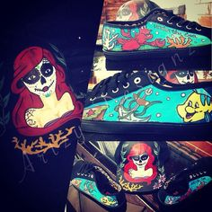 Hand painted sugar skull ariel SnapBack and shoes