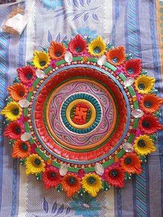 Arti Thali Decoration, Thali Decoration Ideas, Diy Diwali Decorations, Flower Decorations, Art N Craft, Craft Work, Diy Art, Diwali Diya, Diwali Craft
