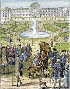 Child King Louis Xv Of France (1710-1774) Going For A Ride In The Garden Of The Tuilleries In Paris: Wood Engraving, French