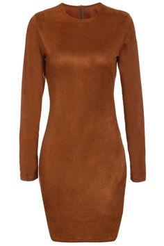 Long Sleeve Brown Suede Dress
