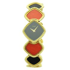 Piaget Lady's Yellow Gold Onyx Coral Bracelet Wristwatch | From a unique collection of vintage wrist watches at https://www.1stdibs.com/jewelry/watches/wrist-watches/
