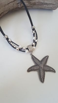 starfish pearl multistrand leather necklace by myDemimore on Etsy