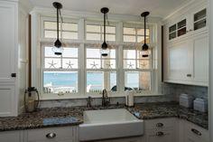 Seaside Kitchen | Apron Front Sink | Lantern Pendant Lights | Kitchen & Bath Details, Mattapoisett, MA