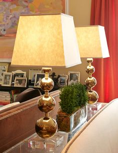An NYC apartment includes a pair of AND for NW Orbis Table Lamps.