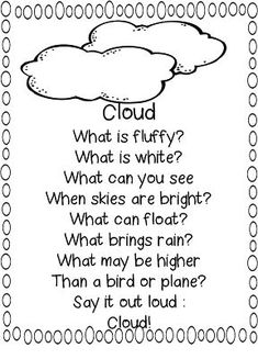 Add some literacy to your first grade science teaching with this poem about clouds from First Grade WOW! Preschool Poems, Kindergarten Poems, Kids Poems, Preschool Science, Teaching Science, Science Classroom, Science Experiments, Science Education, Efl Teaching