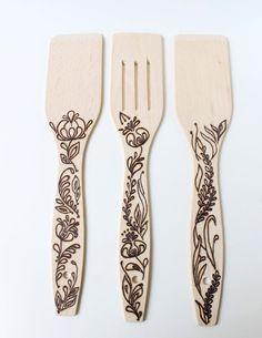Hand Burned Design kitchen spatula Wood spatula by FireWoodCraft