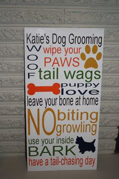 Katie's Dog Grooming Sign    #dogs #silhouette #sign