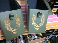 Harley custom bags, gold leaf