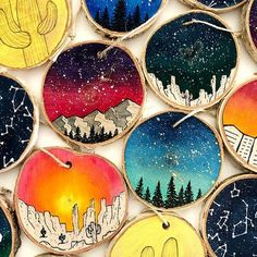 Galaxy Ornaments Wood Slice Ornament Rustic Wood Slice Etsy Happy New Year Etsy Christmas, Christmas Crafts, Christmas Decorations, Christmas Ornaments, Christmas Ideas, Wood Slice Crafts, Wood Crafts, Decor Crafts, Painted Rocks