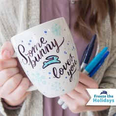 Freeze the Holidays Challenge: Grab plain mugs, permanent markers and decorate family mugs for the whole crew! Be sure to take a photo once everyone's mug is complete, then fill with cocoa, or even ice cream!