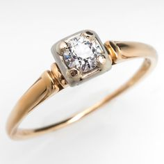 Antique Old Euro Solitaire Petite Engagement Ring 14K Gold