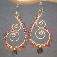 Hammered swirl hoops ruby, mandarin garnet, idocrase Luxe Bijoux 104 by CalicoJunoJewelry on Etsy