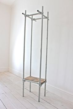 "Lewis Industrial Dark Steel Pipe Luggage And Coat Rack - As Featured On ""bbcs…"