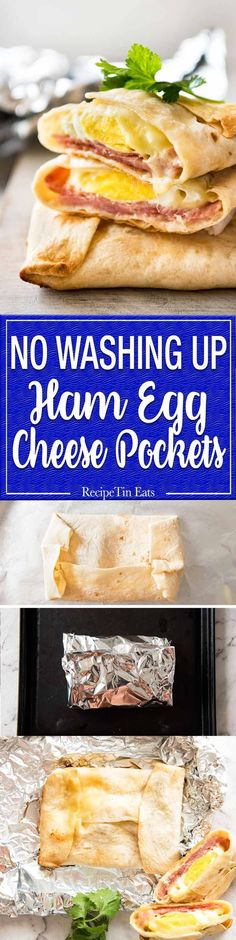 No Washing Up Ham Egg Cheese Pockets - Place ham on a wrap/tortilla, top with a ring of shredded cheese, crack an egg inside, wrap with foil and bake. Voila! A hot breakfast pocket! www.recipetineats...
