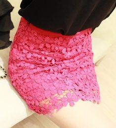 High Waisted Pink Lace Mini Skirt
