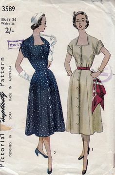 1950s Vintage Sewing Pattern Simplicity by allthepreciousthings