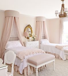 This girl's bedroom features Leontine linens, custom Chelsea fabrics and her grandmother's chest of drawers.
