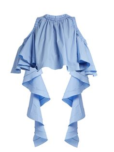 Ellery Baby cut-out shoulder cotton-poplin cropped top Stage Outfits, Fashion Outfits, Womens Fashion, Tomboy Outfits, Blue Crop Tops, Cropped Tops, Trendy Tops, Fancy Tops, Poplin